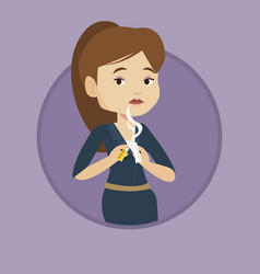 young woman quitting smoking vector image