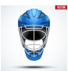 Classic blue goalkeeper hockey field helmet vector