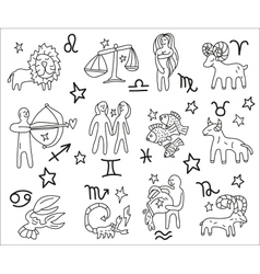 Zodiac icons doodles set vector