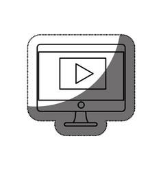 Desktop computer isolated icon vector