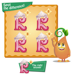 Spot the difference letters r vector
