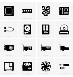 Computer components icons vector
