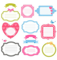 Colorful frames and stickers for scrapbooking vector