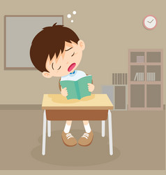 Student boy read a book but sleeping in classroom vector