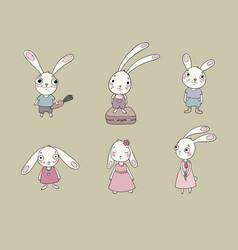 Set of cute cartoon bunny vector