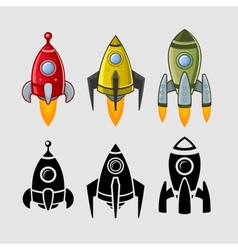 Spaceships set color and black vector image