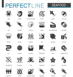 Black classic seafood icons set sea food vector