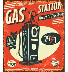 Grunge retro gas station sign vector image