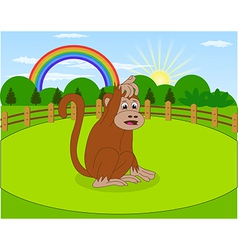 Cartoon monkey and rural meadow with green grass vector