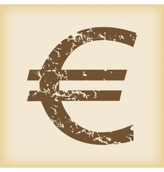 Grungy euro icon vector