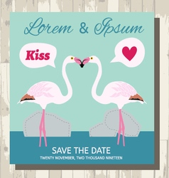 Pair of flamingo save the date card vector