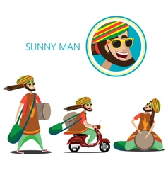 Set of sunny man vector
