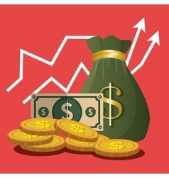 Financial growth up and money vector