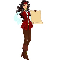 Pirate girl with scroll vector
