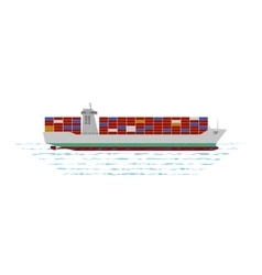 Container ship at the ocean vector