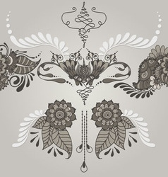 Mehndy tattoo flowers pattern vector