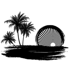 Palm trees in the sun vector