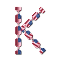 Letter k made of usa flags in form of candies vector