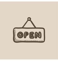 Open sign sketch icon vector