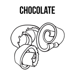 Black and white chocolate shaving curl spiral vector