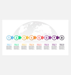 Business infographics presentation with 8 steps vector