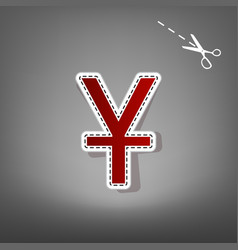 Chinese yuan sign red icon with for vector