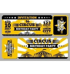 Circus ticket birthday card mockup vector image vector image