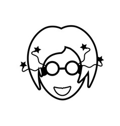 face girl funny glasses outline vector image vector image
