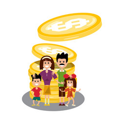 Family with dollar coins happy people with money vector