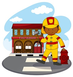 Fire fighter and fire station vector