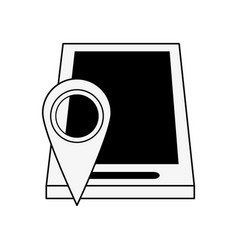 Gps location pin with smartphone icon image vector