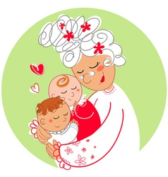 Granny with baby twins vector image vector image