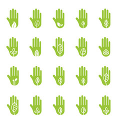 Hand with green leaf logo elements vector