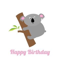 Happy Birthday card with cute koala Baby vector image vector image