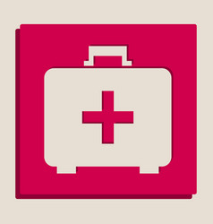 Medical first aid box sign grayscale vector