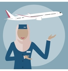 Muslim woman stewardess vector