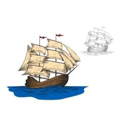Old sailing ship among ocean waves vector