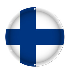 Round metallic flag of finland with screw holes vector