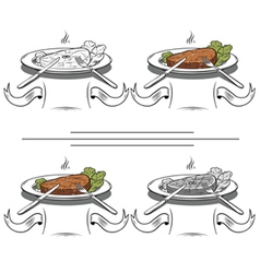 set Grilled Steak vector image vector image