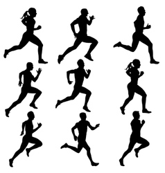 Set running silhouettes vector image vector image