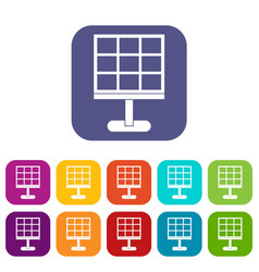 Solar battery icons set flat vector