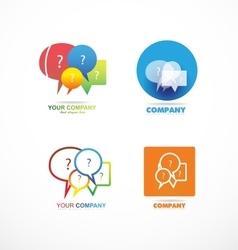 Speech box bubble question logo icon set vector image