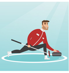 Sportsman playing curling on a skating rink vector