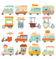 Street food vehicles icons set cartoon style vector
