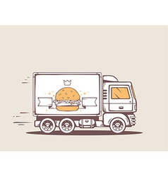 Truck free and fast delivering big burger vector
