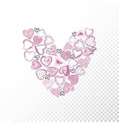 Valentines day heart with many hearts vector