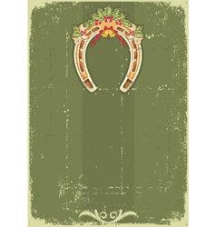 Vintage Christmas horseshoe background with holly vector image