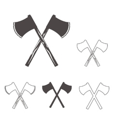 Crossed axes silhouettes set for logo design vector