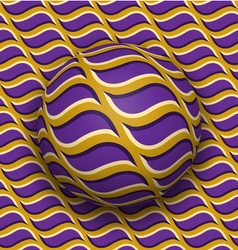 Ball rolls along surface abstract optical  purple vector