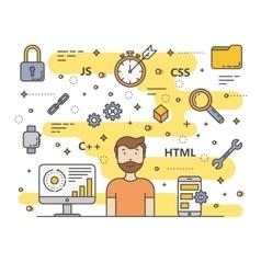 thin line flat design web development vector image